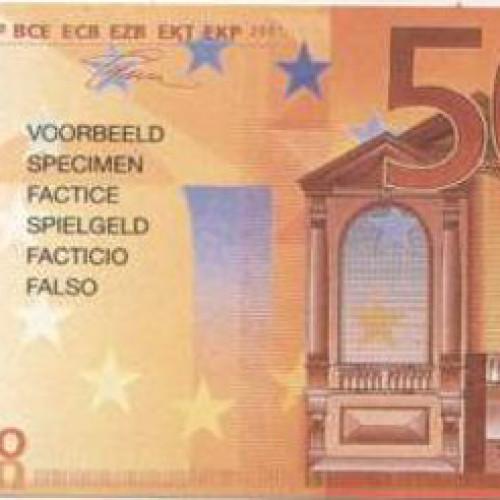 Fac-simili dei 50 euro accettati nei cambiamonete