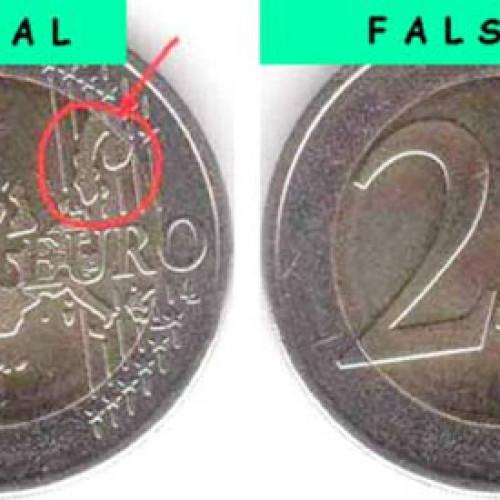 Falsi 2 euro fabbricati in Spagna