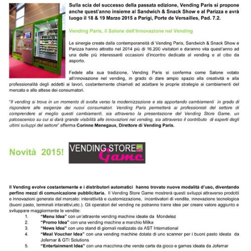 Vending Paris 2015. 18 e 19 marzo 2015