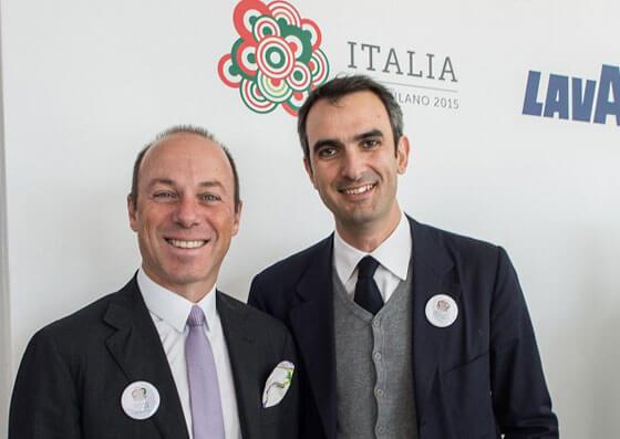 Marco Lavazza a destra insieme a Giuseppe Lavazza