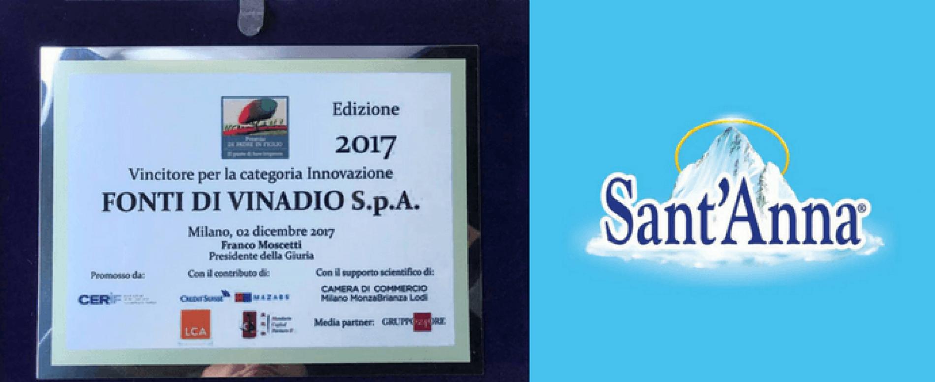"""Acqua Sant'Anna tra i vincitori del Premio """"Di Padre in Figlio"""""""