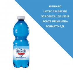 Ritirato il lotto 23LB8137E Acqua San Benedetto Fonte Primavera