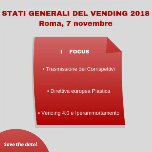 Stati Generali del Vending 2018: il 7 novembre a Roma