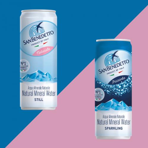 San Benedetto lancia l'acqua minerale in lattina