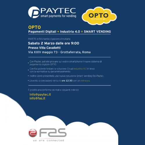 Paytec con Fas a Roma. Pagamenti digitali+Industria 4.0 = Smart Vending