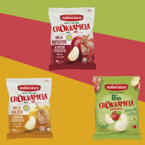 Crokkamela è il nuovo snack di Noberasco: spicchi di mele essiccate croccanti e gustose