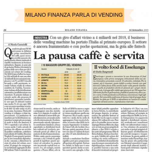 Un articolo di Milano Finanza analizza il settore del Vending