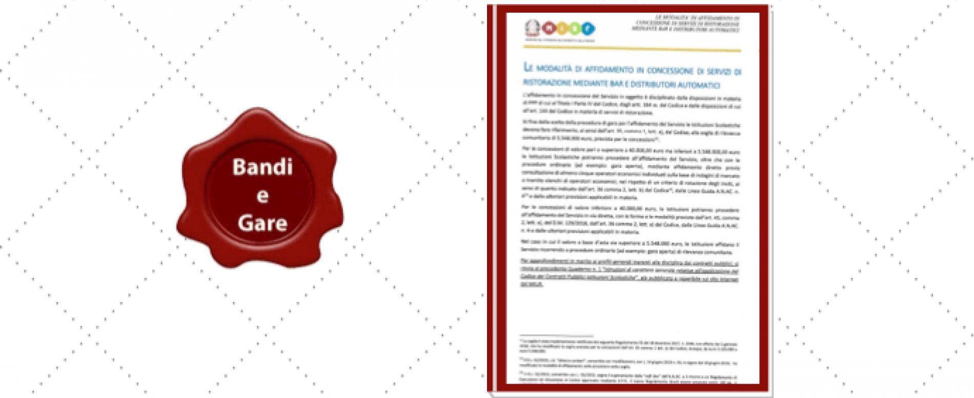 Il MIUR ha pubblicato Quaderno 2. Le indicazioni per le gare Vending nelle scuole