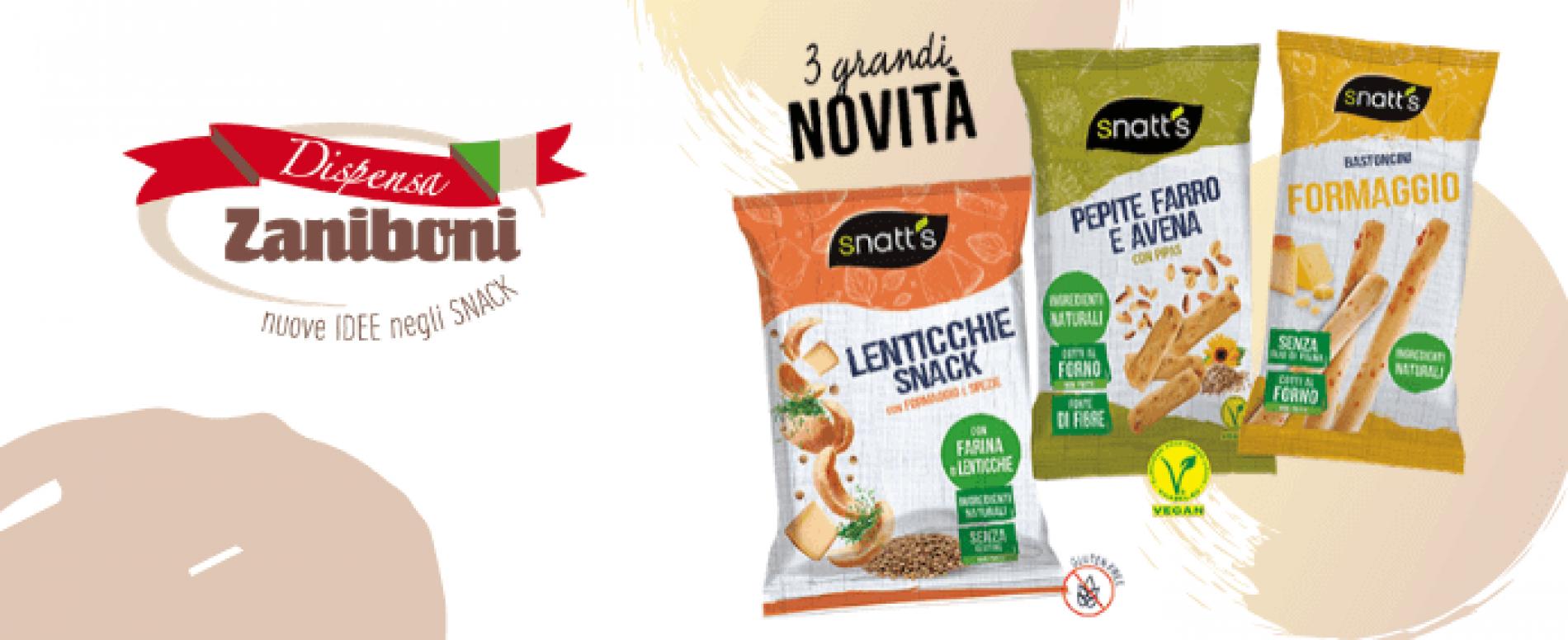 Dispensa Zaniboni. 3 nuovi snack della linea Snatt's realizzati con farine alternative